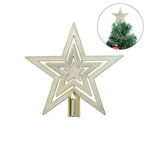 OUNONA Puntale per Albero di Natale Stella Partito Decorazione (Oro)