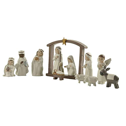 WYB Traditional Christmas Nativity Scene - Resin Nativity Scene Crafts, Childrens Nativity Set with Nativity Figures Christmas Decorations