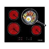 Gasland Chef CH60BF - Piano cottura in ceramica, 60 cm, 4 fornelli 6000 W, piastre (Integrato, Vetro-ceramica, Nero, Touch, Fronte)