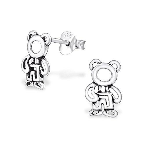 Laimons meisjes kinderen oorstekers oorbellen kindersieraden teddybeer beer beer geoxideerd glans van sterling zilver 925