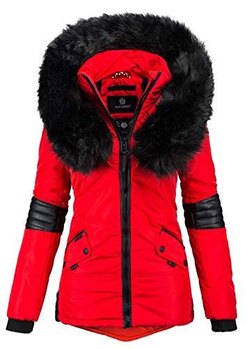 Navahoo Damen Winter Jacke Designer Parka Kunstfell Winterjacke B369 [B369-Nirvana-Rot2-Gr.S]