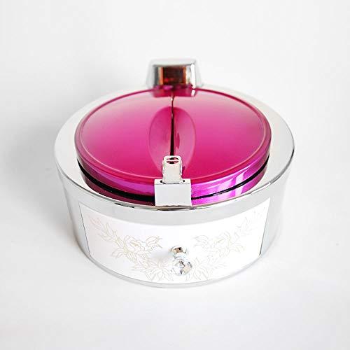 Titular de inducción Inteligente Cenicero Cenicero Organizador, a Prueba de Viento Creativo cenicero con Tapa de Apertura automática, Cerámica Moda ceniceros con ABS Shell (Color : Rose Red)