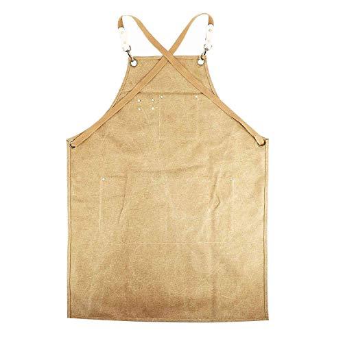 Kuinayouyi Delantal de lona para cocinero, barista, camarero, chef, peluquería, uniforme de catering, ropa de trabajo, mono antisucio (marrón)