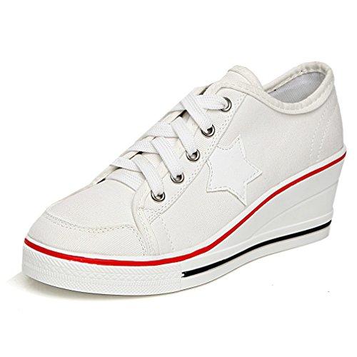 Solshine Damen Canvas Sportlich Low Top Keilabsatz Schnürer Sneaker-Wedges Sportschuhe weiß 38 EU / 4.5 UK / 6.5 US
