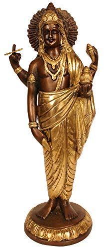 Exotic India Dhanvantari - The Physician of Gods - Brass Statue - Color Brown Gold Color