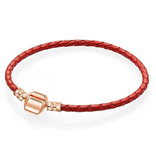 Nuevas pulseras de cuero del encanto para las mujeres oro rosa serpiente cadena pulseras para las mujeres niños DIY marca joyería regalo