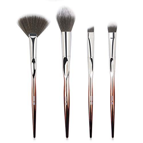 4PCS Pinceaux Gradient or Rose 4 Pièces Kit de Pinceaux Maquillage Pour le Visage (Multicolor)