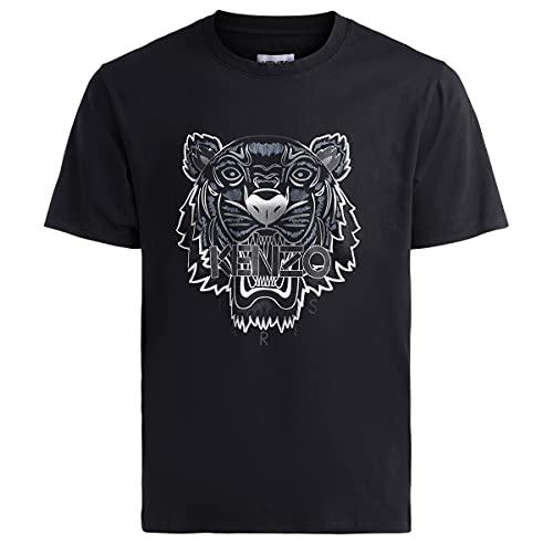 Kenzo Tiger - Camiseta para hombre (talla pequeña), color negro y gris Negro S corto