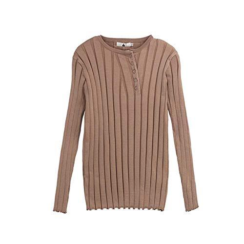 YANGPANGZI Blusa de Mujer de Talla Grande, otoño, más un suéter de Punto con Hebilla Oblicua Gruesa
