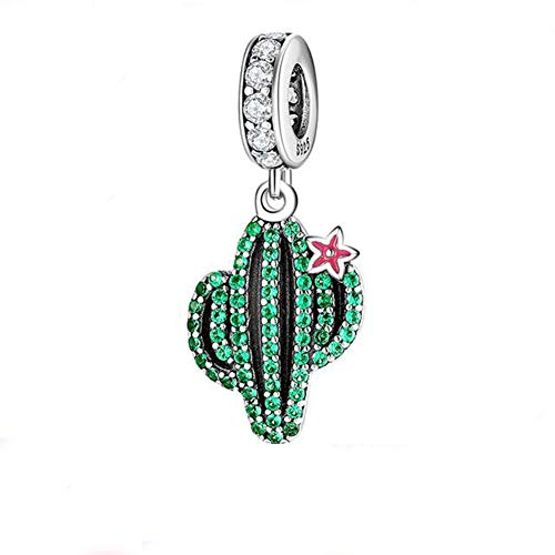 Plants and Insects Charm 925 Sterling Silver Cactus Charm Flowers Beads Botany Charm for Bracelet & Necklace (Green Cactus & Pink Flower)