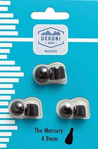 Dekoni Audio Mercury Bulletz Moldable Memory Foam Isolation Earphone Tips, Black, 4.9mm, 3 Pack (Sample (S, M, L))