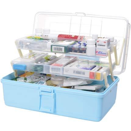 XXLYY Medicine Box Kunststoff 3 Ebenen Transparente Erste-Hilfe-Box Multifunktionale Sortierbox mit Griff 33 x 18 x 17,5 cm, Kunststoff, Hellblau, 33 * 18 * 17,5 cm