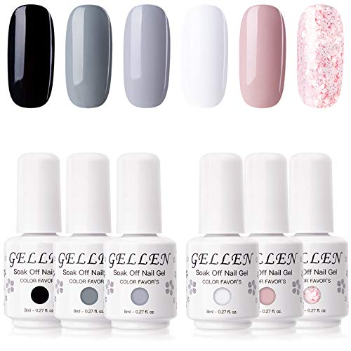 Gellen Gel Nail Polish 6 Colors Set - Decent Luxury Set Series, Elegant Nail Art Colors Black White Pastel Grays Nude Glitter Pink Manicure Kit