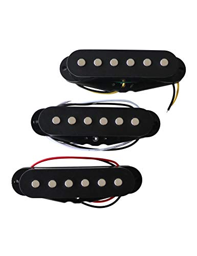 Metallor Single Coil Scatter Wound Pickups for Strat Style Guitars, Left & Right Hand Brand New Set of 3 Black.