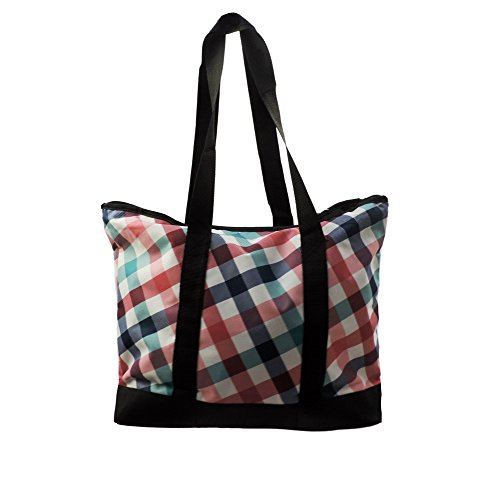 Everest Laptop Storage Shopping Tote w/Fashion Pink & Blue Plaid