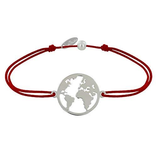 Gioello Les Poulettes - Bracciale Collegamento Medaglia Argento Rotonda Mappa del Mondo - Rosso
