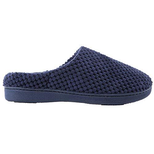 Damen-Pantoffeln aus Mikroterry von Isotoner, mit niedrigem Rückenteil mit Memory-Schaum, Blau (marineblau), Medium