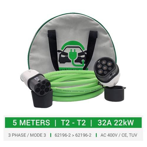 Ete ETMATEConnettore Caricabatterie EV 32 Amp da 1 a Tipo 2 Cavo di Ricarica EV 5 m per Stazione di Ricarica per Veicoli Elettrici