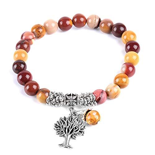 2Pcs Tree of Life Charms Bracelet Bangle for Women Natural Egg Yolk Stone Rosary Mala Beads Healing Yoga Meditation Jewelry E738