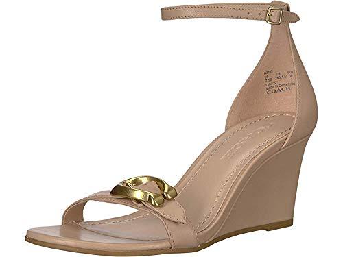 COACH Womens Odetta Leather Ankle Strap Wedge Sandals Beige 9.5 Medium (B,M)