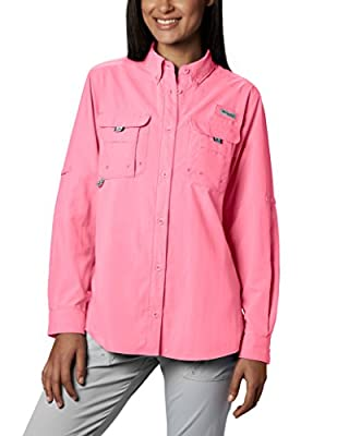 Columbia Women's Standard PFG Bahama II Long Sleeve Shirt, Breathable with UV Protection, Lollipop, X-Large