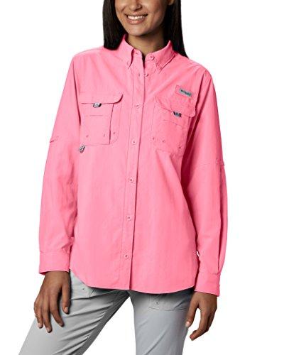 Columbia Women's Standard PFG Bahama II Long Sleeve Shirt, Breathable with UV Protection, Lollipop, Medium