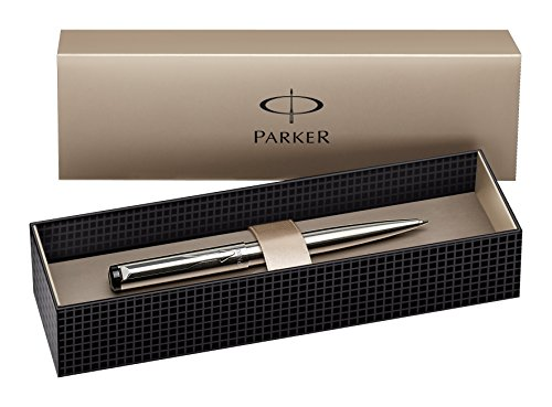 Parker S0723510 Vector Kugelschreiber (edelstahl mit edelstahleinfassung, blaue Tinte, Geschenkbox)