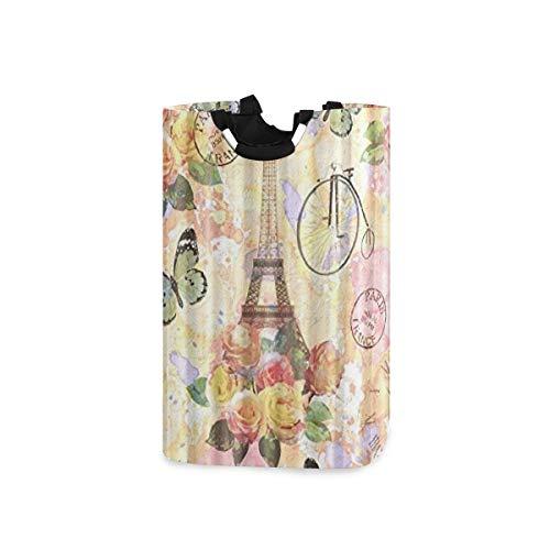 COFEIYISI Cesto para la Colada,Vintage París Torre Eiffel Antigua Bicicleta Flores Mariposa,Plegable...