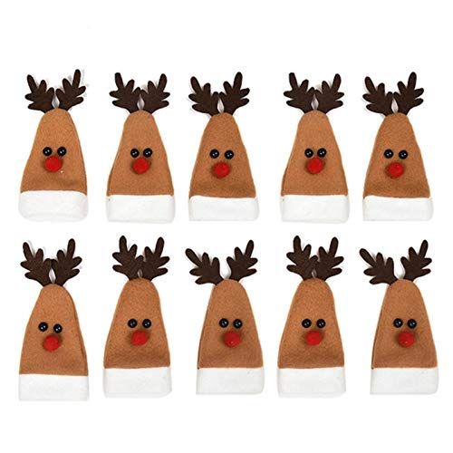 cypressen Pack of 10 Christmas Wine Bottle Cover Elk Shape Champagne Bottle Cover for Christmas Holidays Table Decoration