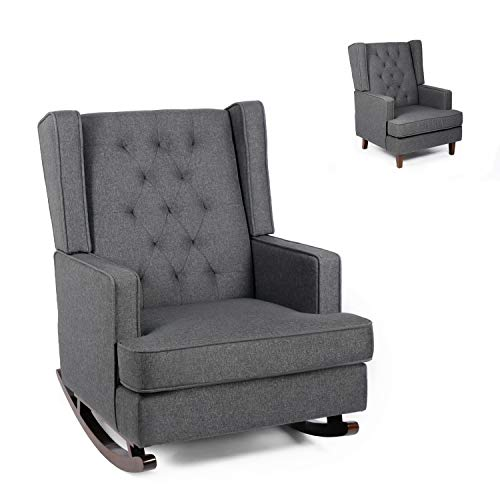 Modern Glider Rocker Chair Rocking Chair with Two Sets of Legs Mid Century Accent Chair Fabric Armchair Dual-use Design (Grey)