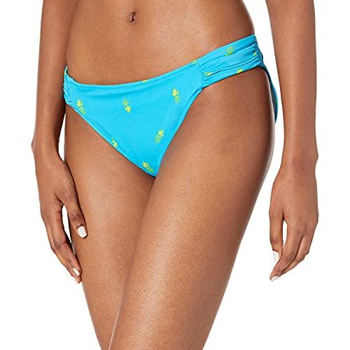 Amazon Essentials Women's Side Tab Bikini Swimsuit Bottom, Blue Pineapple, M