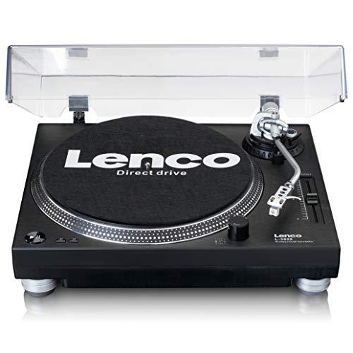 Lenco L-3809 Plattenspieler - USB Plattenspieler mit Direktantrieb - Vorverstärker - 33 und 45 U/min - MMC - RCA- Line Out - Schwarz