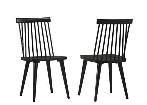 Duhome Chaise Salle à Manger Lot de 2 en Bois laqué Design Retro Chaise scandinave avec Dossier Arrondi modèle Ellen, Couleur:Noir, matière:Bois