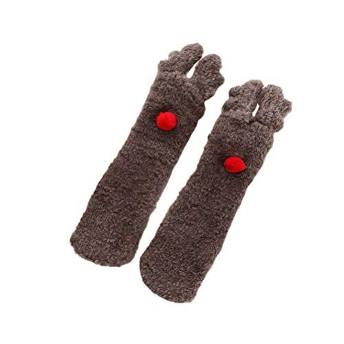 Amosfun 1 Paar Kinder-Mittelstrümpfe, Weihnachtsstrümpfe, warme Winter-Socken für 2–6 Jahre, Kleinkind, Baby, Weiß M REH/Hirsch