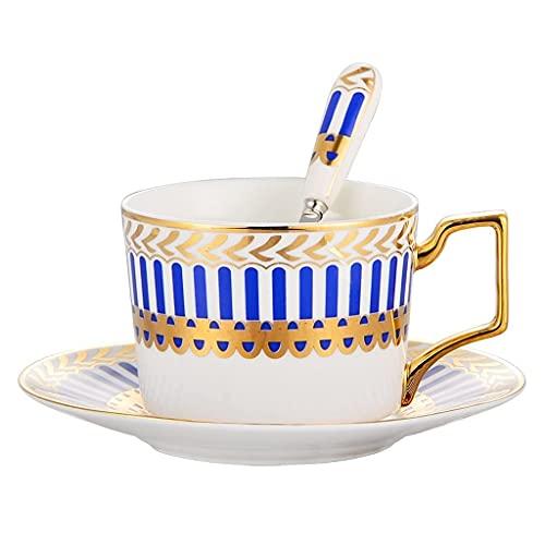 DZX Combo de Taza y platillos de Porcelana de Hueso Simple de Estilo Europeo 7.0 oz / 200ml, Tazas de té de la Tarde con Leche de Alto Grado con Cuchara para Oficina y hogar