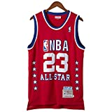 KKSY Maillots pour Hommes Chicago Bulls # 23 1989 All Star Basketball Jerseys Retro Respirant Vest,Red,S