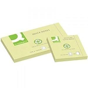 Q-Connect KF05610 – Bloc de notas adhesivas (papel reciclado, 75 x 125 mm), color amarillo