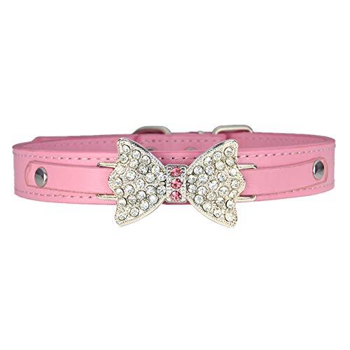DC CLOUD Collars De Perro Collars para Perros Collares para Perros Grandes Pequeño Cachorro. Collares de Perro Collares de Perro de Cuero XX-Small,Pink
