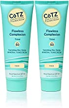 CoTZ Flawless Complexion SPF 50 Sunscreen (Pack of 2) With Zinc Oxide, Vitamin C and E, Dimethicone and Iron Oxide, For Acne-Prone, Oily, Normal, Dry, Combination, Sensitive or Mature Skin, 2.5 oz.