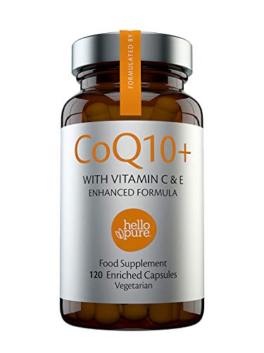 CoQ10 100mg 120 Highest Absorption Capsules with Your Secret Weapon Vitamin C & E for Optimum Co-Q10 Results | Vegan Premium Grade CoEnzyme Q10 Naturally Fermented Ubiquinone hello pure Co Enzyme Q10