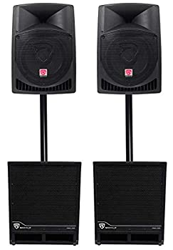 2  Rockville RPG12 12  Powered 1600w DJ PA Speakers+ 2  15  Powered Subwoofers