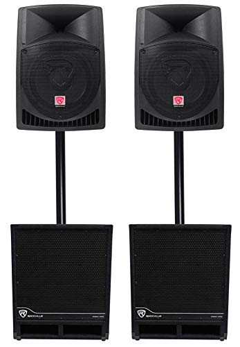 """(2) Rockville RPG12 12"""" Powered 1600w DJ PA Speakers+(2) 15"""" Powered Subwoofers"""