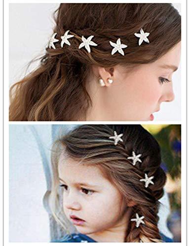 BERYUAN trendy Hairpin Starfish Hair Jewelry Star Rhinestone bobby pin Bridal Hair Pin barrette hair clip Crystal Headpiece Wedding Women Hair Accessory Prom Hair Dress 6pcs