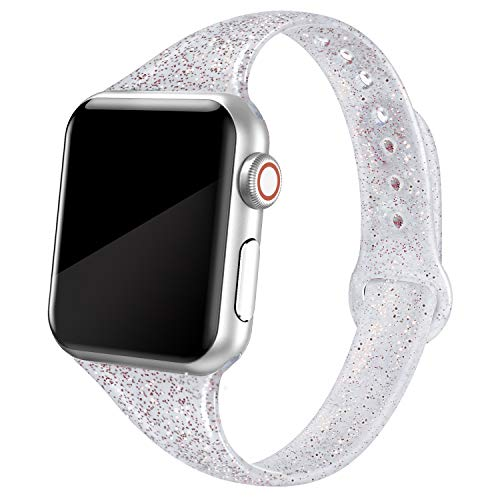SWEES Sport Band Compatible with Apple Watch 38mm 40mm 42mm 44mm, Shiny Bling Glitter Soft Slim Thin Narrow Small Replacement Silicone Strap Compatible for iWatch Series 5/4/3/2/1, Sport Edition Women