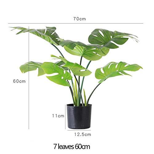 RUIZHISHUArtificial Plant schildpad bladeren in zwarte plastic potten, 60 cm hoog, zijdebladeren, geschikt voor interieur decoratie