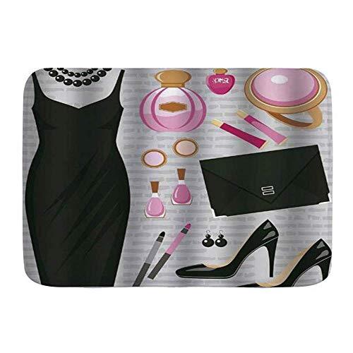 Amanda Walter Alfombras de Puerta, Tacones y Vestidos Vestido de cóctel Inteligente Negro Perfume Maquillaje Bolso de Mano, Piso de Cocina Alfombra de baño Alfombra 40x60cm