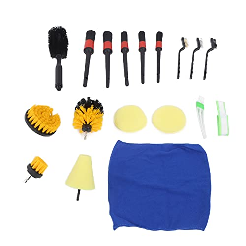 Automotive Detail Brushes Kit, Detailing Brush Set Car Air Conditioner Tire Wheel Scrubber Cleaning Tools for Bumper Vents (18pcs/set)