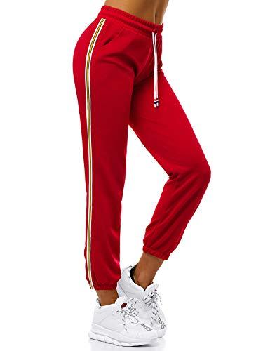 OZONEE Damen Jogginghose Hose Trainingshose Sporthose Freizeithose Motiv Damenhose Fitnesshose Sweatpants Sweathose Fußballhose Joggpants JS/1020/B5 ROT L