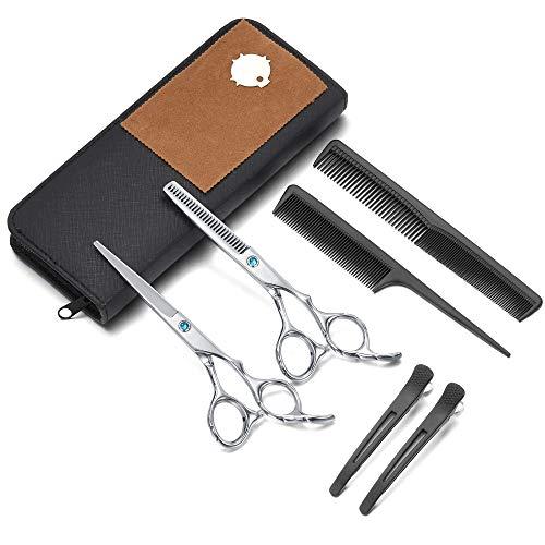 Faletony Juego de tijeras de peluquería, tijeras de entresacar, juego de tijeras, peines, pinzas para el pelo, tijeras profesionales de peluquería para hombre y mujer, perfecto corte de pelo en casa