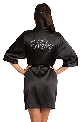 Zynotti Womens Black Satin Wifey Robe with Dazzling Rhinestones L/XL 14-20